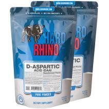 Hard Rhino D-Aspartic Acid (DAA) Powder, 1 Kilogram (2.2 Lbs), Unflavored, Lab-Tested, Scoop Included