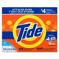 Tide Original HE Turbo Powder Laundry Detergent, 15 Loads, 20 Oz (Pack of 2)