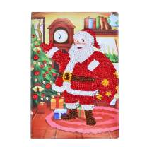Lxmsja Diamond Painting Book Special Shaped DIY Notebook Diary with Diamond Art Cover 100 Pages/50 Sheets A5 Plain/Blank Journal Father Christmas