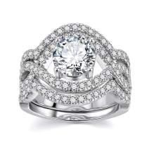 Infinity Cubic Zirconia Bridal Set - Big Round CZ White Gold Plated Women Engagement Wedding Ring Set