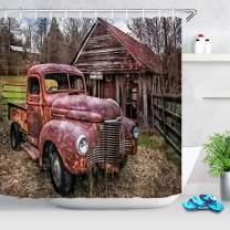 ECOTOB Antique Car Farm Truck Shower Curtain for Bathroom, Vintage American Classic Old Truck Car on Farm Field Rustic Farmhouse Fabric Bathroom Decor Set with Shower Curtain Hooks, 72x79 Inches