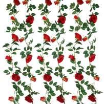SHACOS Artificial Rose Garlands Rose Vines Leaves Hanging Rose Flower Vine Home Wedding Party Decor (Red, 2)