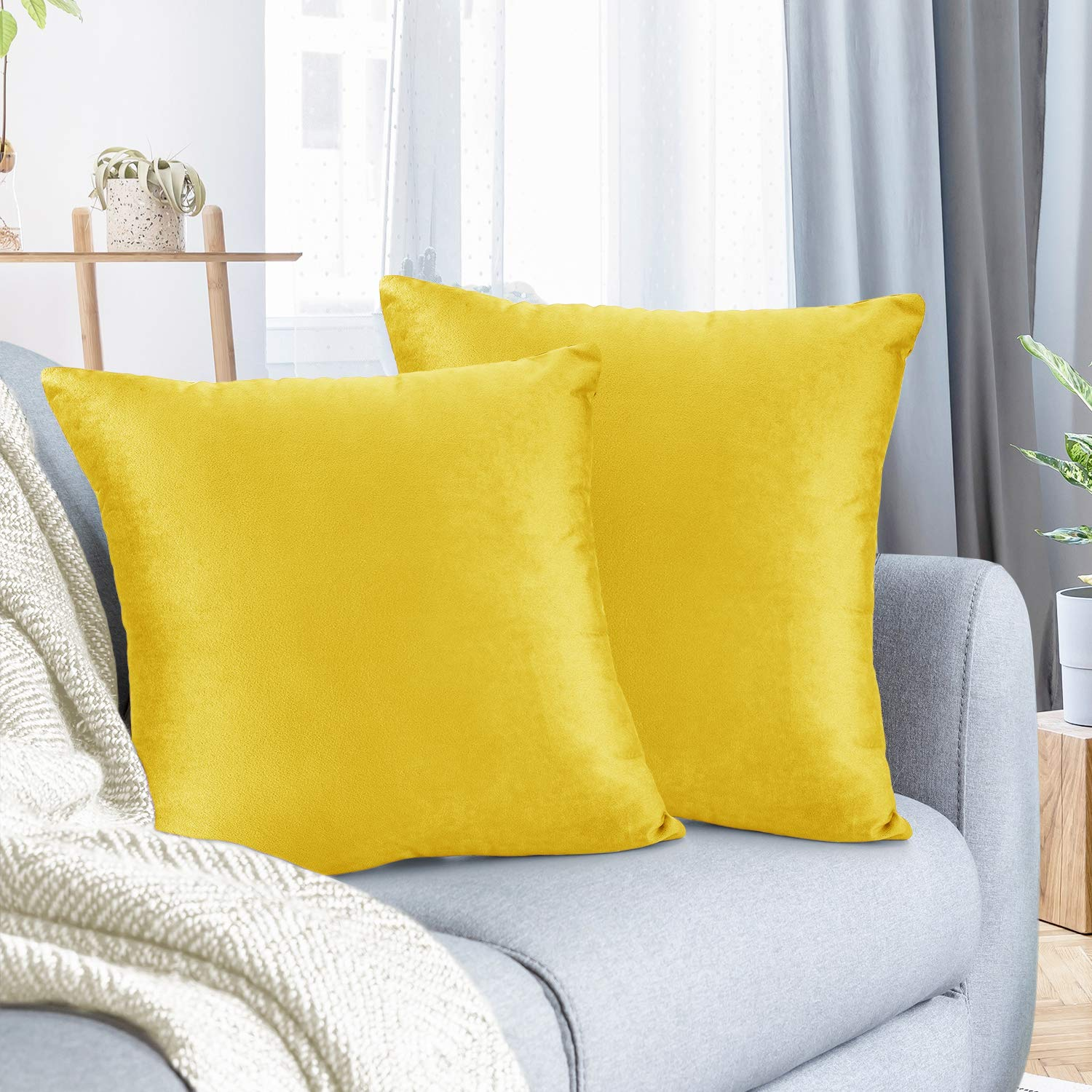 """Nestl Bedding Throw Pillow Cover 22"""" x 22"""" Soft Square Decorative Throw Pillow Covers Cozy Velvet Cushion Case for Sofa Couch Bedroom, Set of 2, Yellow"""