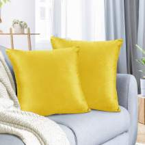 "Nestl Bedding Throw Pillow Cover 16"" x 16"" Soft Square Decorative Throw Pillow Covers Cozy Velvet Cushion Case for Sofa Couch Bedroom, Set of 2, Yellow"