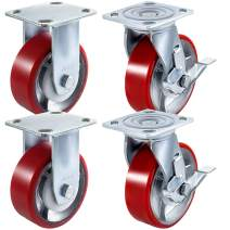 BestEquip 4 Pack 5 x 2 Inch Caster Wheels 2 Rigid and 2 Swivel Casters with Side Brake Polyurethane Iron Core Top Plate 800LBS Capacity per Wheel