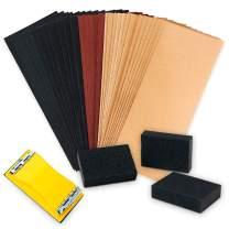 "PILOT FISH 40 PCs Sandpaper, 3 Sanding Block with 1 Handle, Sandpaper Girt 40 to 400, Wet Dry Variety Pack Abrasive Sandpaper Assortment for Wood, Automotive Car, Furniture, Metal, Polishing, 9х3.6"""