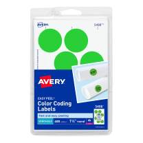 """Avery 5498 Removable Print or Write Color Coding Labels for Laser Printers, 1-1/4"""" Round - Neon Green (Pack of 400)"""