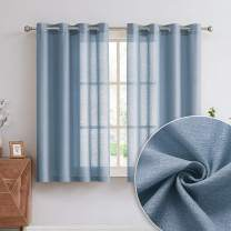 July Joy Linen Textured Sheer Curtains for Bedroom, Semi Light Filtering Privacy, Solid High Woven Linen Curtains Grommet Top for Living Room Drapes 63 inches Long 2 Panels, Dusty Blue