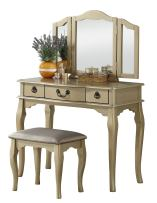 Poundex PDEX- Vanity Table With Stool Set, Champagne