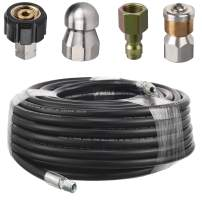 RIDGE WASHER Sewer Jetter Kit for Pressure Washer, 100 Feet Hose, 1/4 Inch, Drain Jetting, Laser and Rotating Sewer Nozzle, 4000 PSI, Orifice 4.0, 4.5