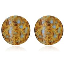 Three Dimentionally Sinuous and Sculptural Circle Motif with Mottled Acrylic Resin Stud Earrings for Women