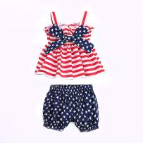 Kids Toddler Baby Girls 4th of July Shorts Outfits Set American Flag Ruffle Dress Shirt Tops+Short Pants Summer Clothes (Bowknot, 18-24 Months)