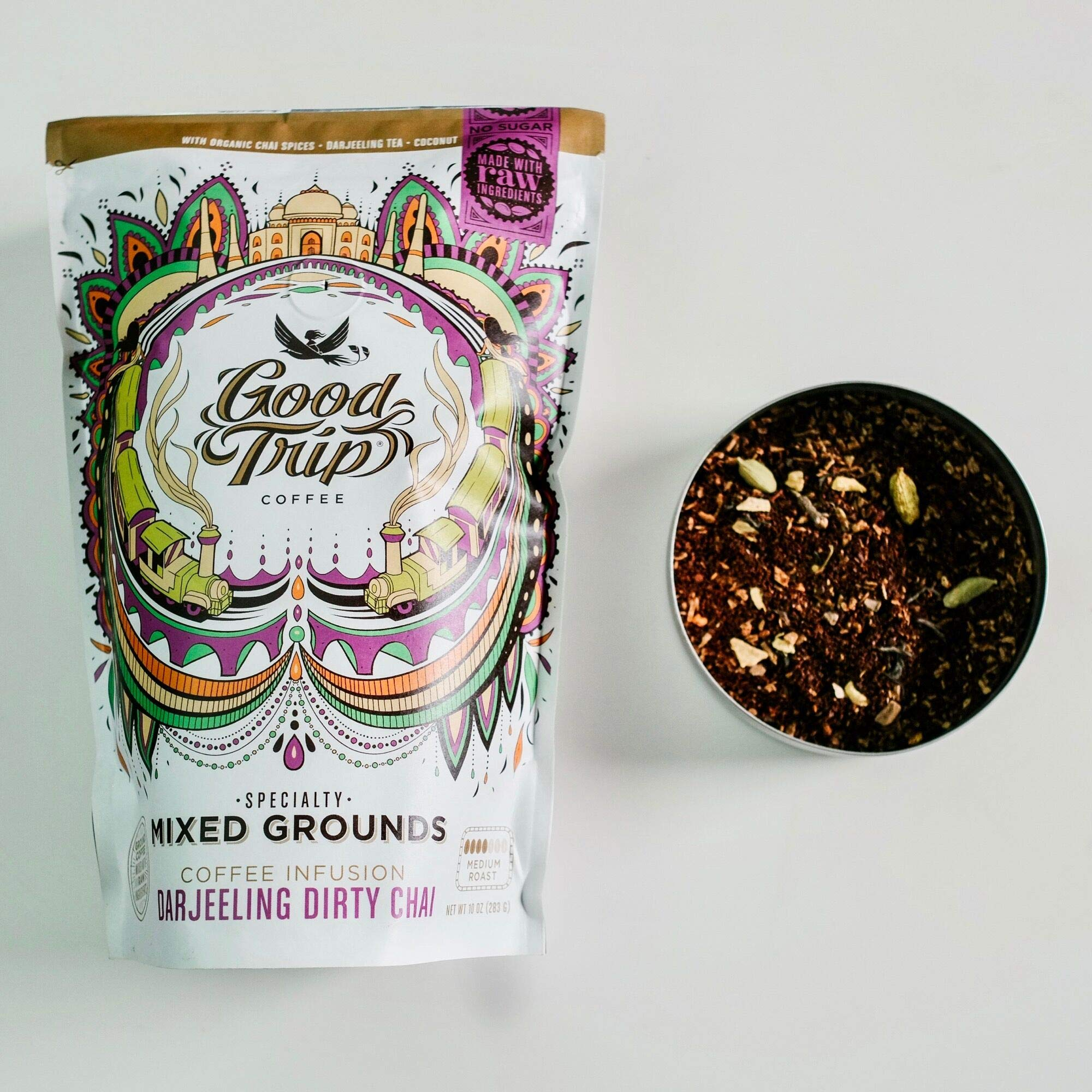 Good Trip: Darjeeling Dirty Chai ~ As Seen in Anthropologie   Organic Coffee Infusion Mixed w/ Tea, Spices & Coconut   Vegan, GF, Keto, Non-GMO   (Coarse Ground for Cold Brew or French Press), 10 oz