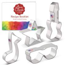 Ann Clark Cookie Cutters 4-Piece Rock Star Cookie Cutter Set with Recipe Booklet, Star, Electric Guitar, Sunglasses