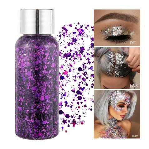GL-Turelifes Mermaid Sequins Chunky Glitter Liquid Eyeshadow Glitter Body Gel Festival Glitter Cosmetic Face Hair Nails Makeup Long Lasting Sparkling 30g (06# Purple)