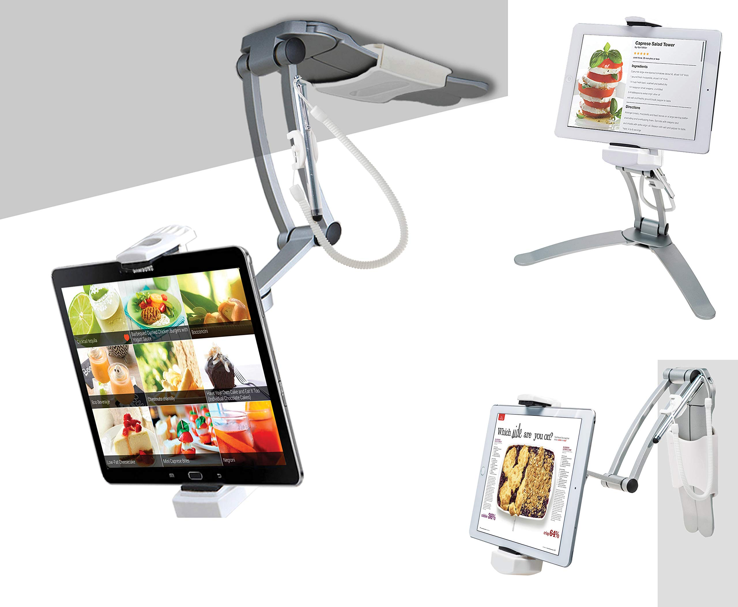 """2-in-1 Kitchen Tablet Stand, CTA Digital Wall/Desktop Mount W/Stylus for 7-13"""" Tablets/iPad 10.2-Inch(7Th Gen)/12.9-Inch iPad Pro/11-Inch iPad Pro/Air 3/Mini 5/Galaxy Tab A 10.1/Surface Pro 6 & More"""
