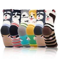 Footfox 6 Pairs Women Funny Cute Novelty Animal Socks Dog Casual Cotton Crew Socks