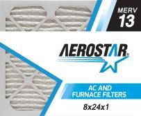 Aerostar 8x24x1 MERV 13, Pleated Air Filter, 8x24x1, Box of 4, Made in The USA