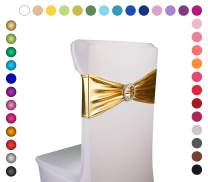 """Razbees Wedding Chair Sash Covers 6""""x14"""" - 50 Pc - Stretchy Spandex Bands/w Buckle Slider for Weddings, Banquets, Baby Showers, Events, Party, Kitchen Decoration Sashes - Gold"""