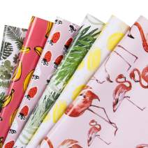 WRAPAHOLIC Gift Wrapping Paper Sheet - Flamingo/Plants/Banana/Strawberry/Lemon/Leaf Summer Design for Birthday, Holiday, Baby Shower - 1 Roll Contains 6 Sheets - 17.5 inch X 30 inch Per Sheet