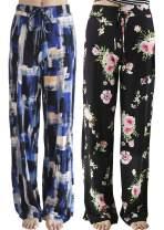 CAMPSNAIL Comfy Pajamas Pants for Women - Postpartum Lounge Stretch Floral Print Drawstring Long Wide Leg Soft Sweatpants