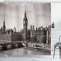 """Ambesonne London Shower Curtain, Westminster with Big Ben and Bridge Nostalgic Image British Antique Architecture, Cloth Fabric Bathroom Decor Set with Hooks, 84"""" Long Extra, Sepia White"""