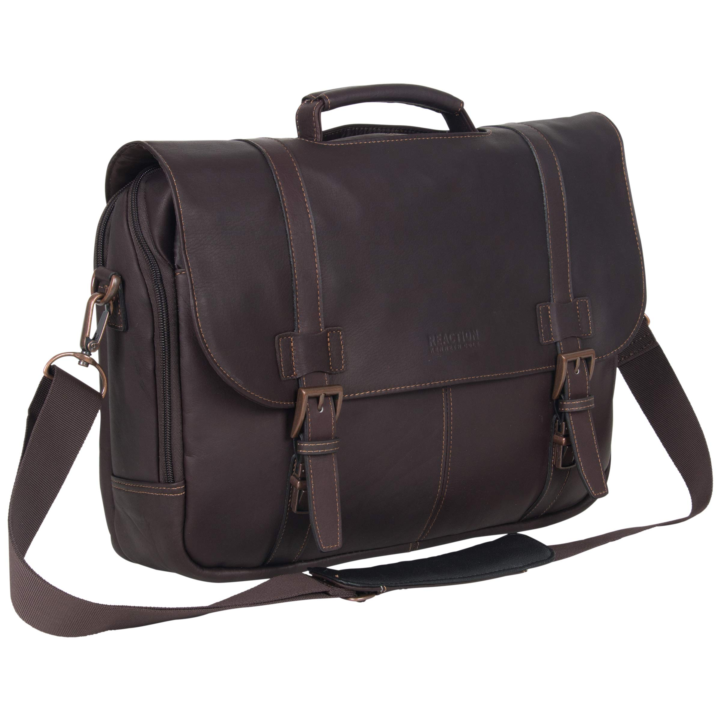 Kenneth Cole Reaction Show Full-Grain Colombian Leather Dual Compartment Flapover 15.6-inch Laptop Business Portfolio, Dark Brown, One Size