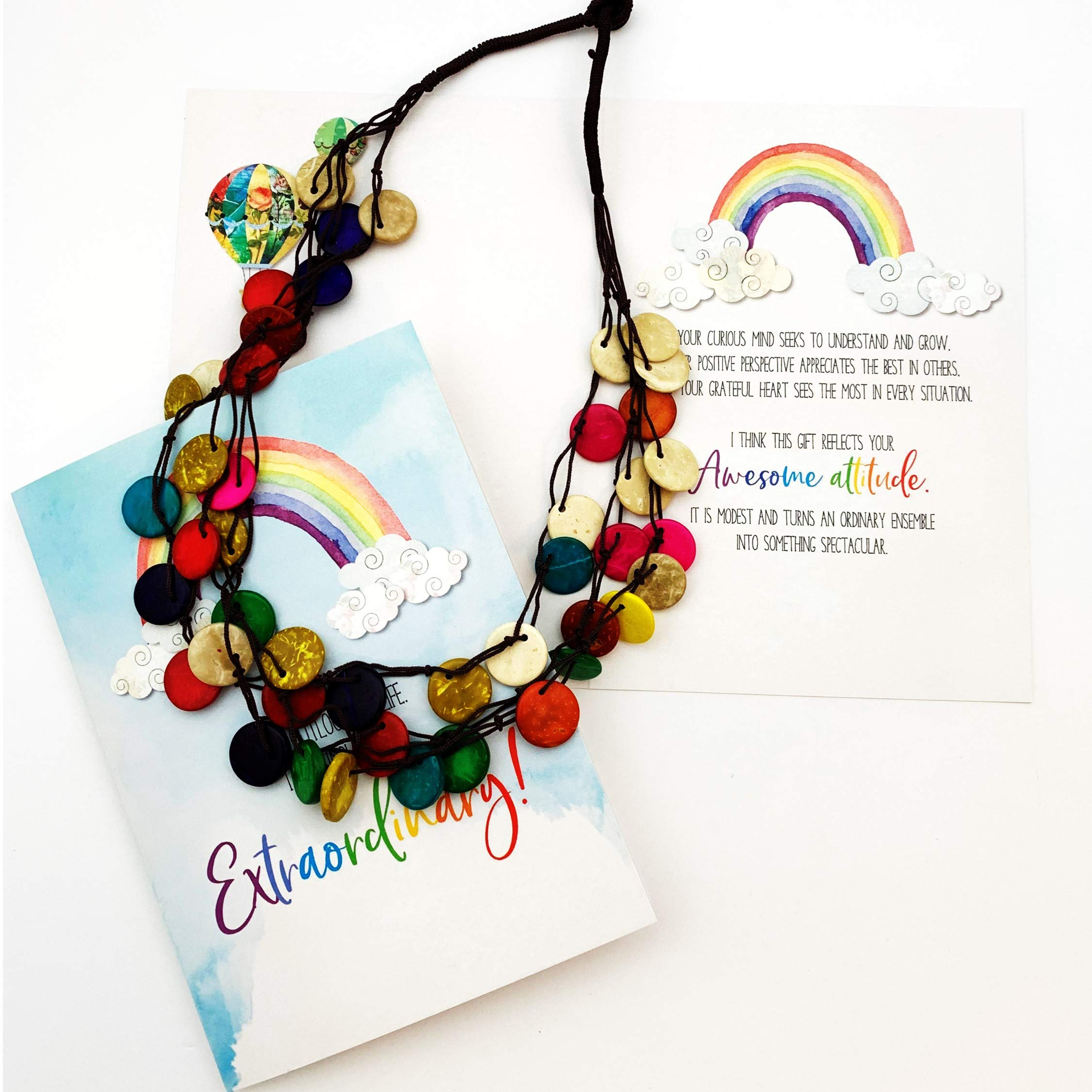 Smiling Wisdom - Rainbow You're Extraordinary Greeting Card Gift Set - Colorful 3 Strand Wood Bead Necklace - Teal Red Orange White Blue Yellow - Coconut Shell Wood Beads - Women Friend - Multicolored