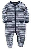 Unisex Baby Boy and Girls Long Sleeve Pajamas Infant Footed Sleeper, 100% Cotton, Striped (0-4T)