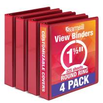 Samsill Economy 3 Ring Binder Organizer, 1.5 Inch Round Ring Binder, Customizable Clear View Cover, Red Bulk Binder 4 Pack (MP48553)