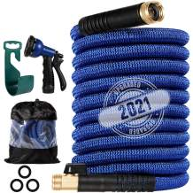 """100 ft Garden Hose, All New 2021 Expandable Water Hose with 3/4"""" Solid Brass Fittings, Extra Strength Fabric - Flexible Lightweight Expanding Gardening Hoses with Free Water Spray Nozzle"""