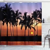 "Ambesonne Hawaiian Shower Curtain, Hawaiian Sunset on Big Island Anaehoomalu Bay Ocean Romantic Resort, Cloth Fabric Bathroom Decor Set with Hooks, 84"" Long Extra, Mauve Black"