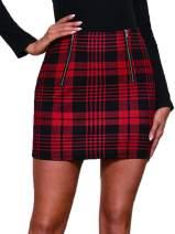 WDIRARA Women's Summer Plaid Zipper Front Mid Waist Bodycon Mini Tartan Skirt Red M