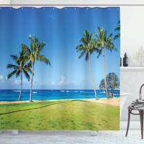 "Ambesonne Hawaiian Shower Curtain, Coconut Palm Trees and Lawn on The Sandy Poipu Beach in Hawaii Kauai Picture Print, Cloth Fabric Bathroom Decor Set with Hooks, 84"" Long Extra, Blue Green"