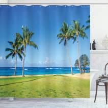 "Ambesonne Hawaiian Shower Curtain, Coconut Palm Trees and Lawn on The Sandy Poipu Beach in Hawaii Kauai Picture Print, Cloth Fabric Bathroom Decor Set with Hooks, 84"" Long Extra, Blue Green"