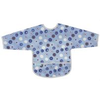Kushies Cleanbib Waterproof Feeding Bib with Sleeves and Catch All/Crumb Catcher Pocket. Wipe Clean and Reuse! Lightweight for Comfort, Baby Boys, 6-12 Months, Blue Crazy Circles 2