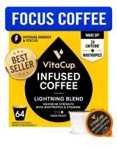 VitaCup Lightning Blend Nootropic Vitamin Infused Coffee Pods Intense Energy Focus | 2X Caffeine | Vegan | Vitamin B1, B5, B6, B9, B12, D3 | Compatible K-Cup Brewers Including Keurig (64 Count)