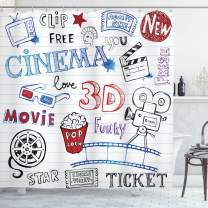 """Ambesonne Movie Theater Shower Curtain, Various Hand Drawn on a Notebook Page Style Backdrop Hollywood Fun, Cloth Fabric Bathroom Decor Set with Hooks, 70"""" Long, White Blue"""