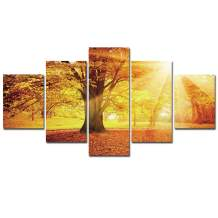 Canvas Wall Art Tree Painting - 5 Pieces Nature Sunshine Tree Decoration Landscape Print for Home Decor Stretched and Framed Easy to Hang Rustic Wall Pictures for Living Room Bedroom Decor