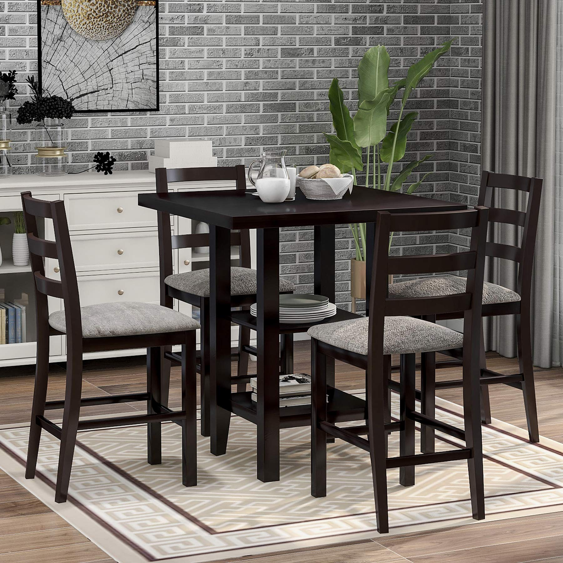 Merax 5 Piece Dining Table Set Wood Counter Height Dining Set Square Kitchen Table with 2-Tier Storage Shelving and 4 Padded Chairs (Espresso)