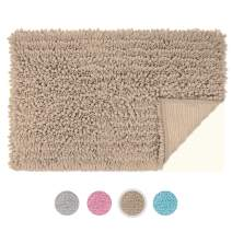 SHSCLY Chenille Plush Bath Mat Non-Slip Bathroom Rug, Soft and Comfortable, Super Absorbent, Thickened Mats, Machine-Washable, Suitable for Bathroom and Kitchen (20 x 31 Inch, Brown)