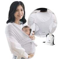 Konny Baby Carrier   Ultra-Lightweight, Hassle-Free Baby Wrap Sling   Newborns, Infants to 45 lbs Toddlers   Soft and Breathable Fabric   Sensible Sleep Solution (Grid, 2XS)