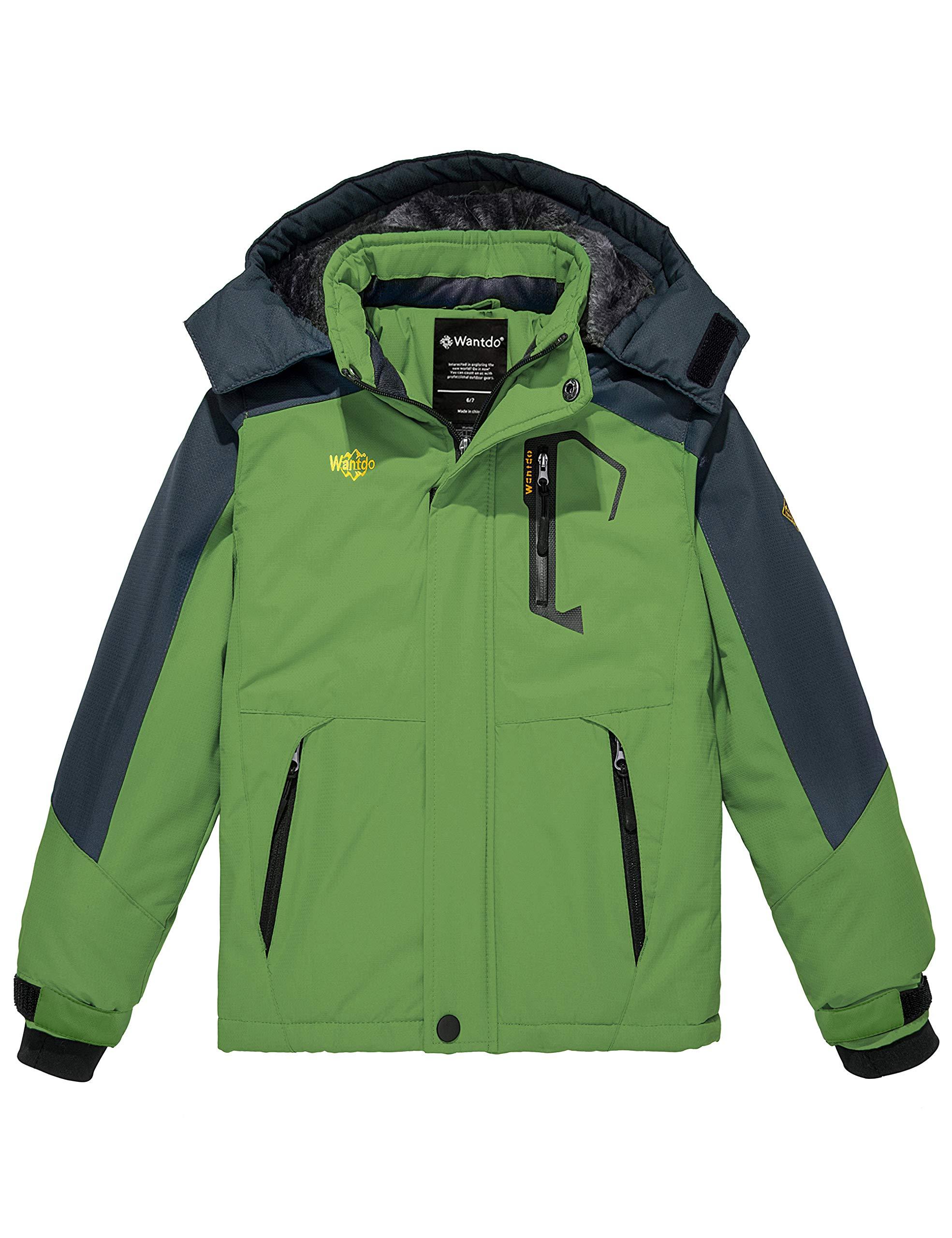 Wantdo Boy's Waterproof Ski Fleece Jacket Thick Winter Coat Hooded Raincoats