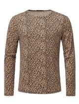THWEI Men Long Sleeve Round Neck Leopard Print T Shirt
