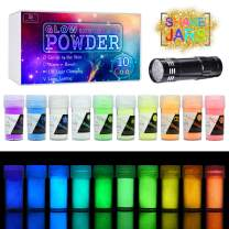 10 Color Glow In The Dark Pigment Powder with UV Lamp - Epoxy Resin Luminous Powder for Slime Kit,Skin Safe Long Lasting Self Glowing Dye for DIY Nail Art,Acrylic Paint,Fine Art, 0.7oz Each(Total 7oz)