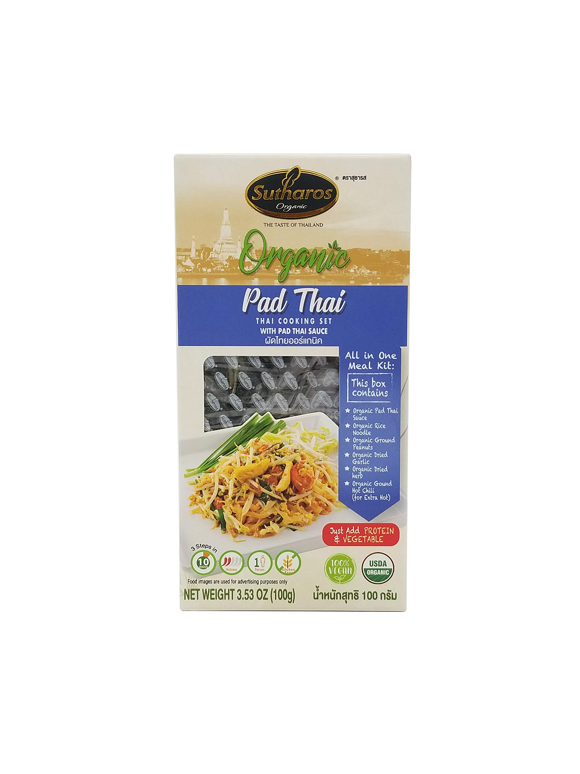 Sutharos Organic Pad Thai Meal Kit (12 Pack), 100% Vegan, Gluten Free, Comes With Rice Noodles , Pad Thai Sauce, Herbs, and Spices