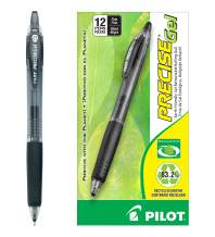 PILOT Precise Gel BeGreen Refillable & Retractable Rolling Ball Pens, Fine Point, Black Ink, 12 Count (15001)
