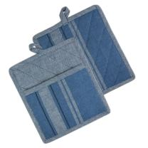 "DII CAMZ36498  Cotton French Stripe Pot Holders with Pocket, 9 x 8"" Set of 2, Machine Washable and Heat Resistant Country Farmhouse Cooking and Baking Pocket Mitts-Chambray Blue"