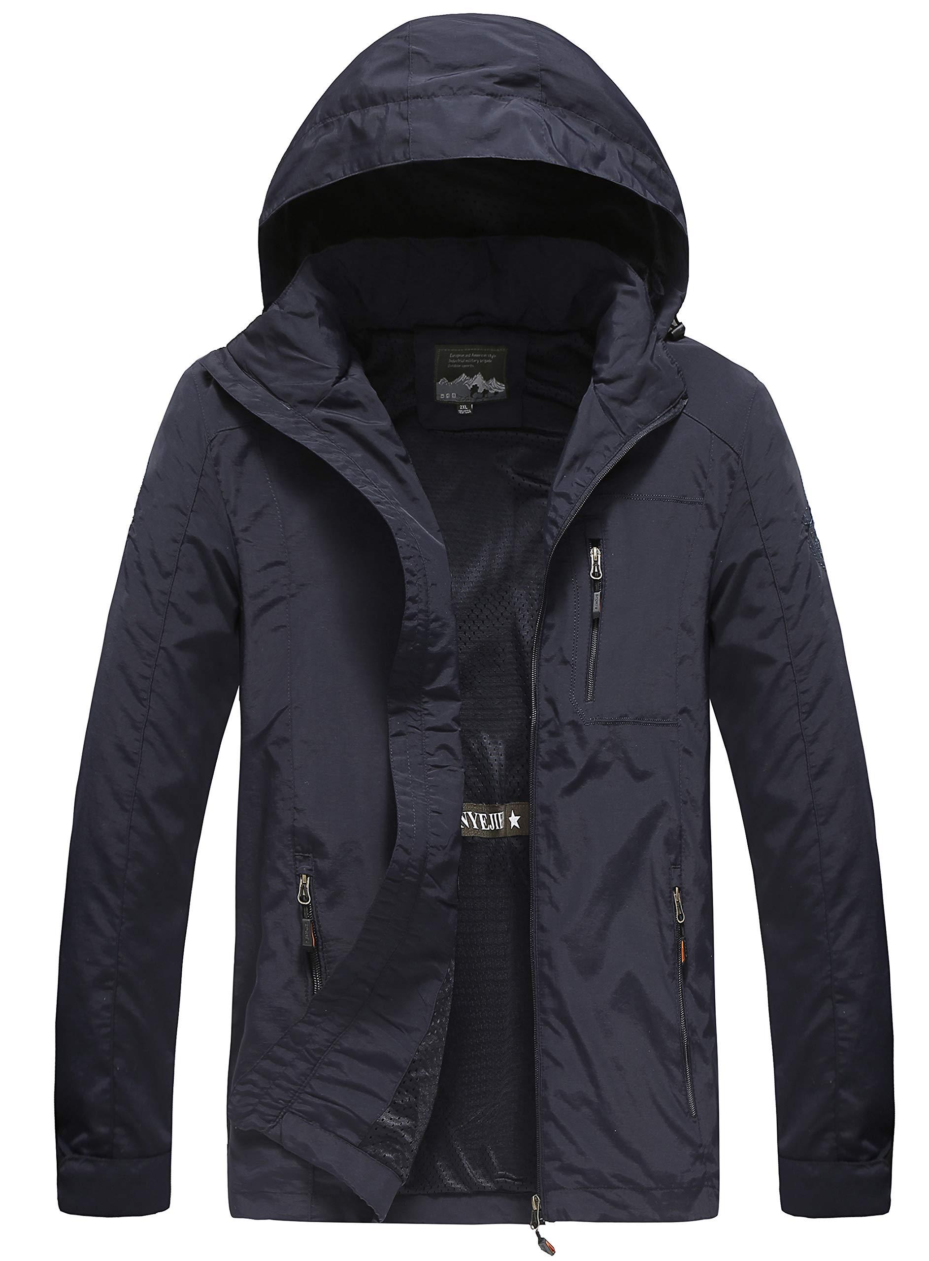 Men's Hooded Lightweight Windbreaker Jacket Softshell Spring Jacket