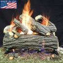 """PayandPack Myard 18"""" inches Country Oak Deluxe Weathered Style Complete Fire Gas Logs Set with Hearth KIT for Vented Gas Fireplace"""
